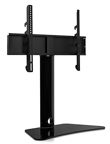 MountIt Universal Swivel TV Stand Swiveling Height Adjustable Television Tabletop Base Fits 32quot to 65quot LED LCD Flatscreens MI844