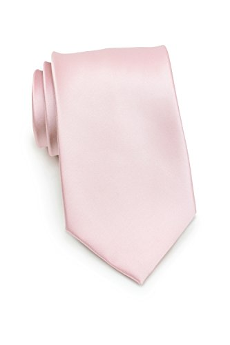 PUCCINI Uni Krawatte, Tie, Binder, Herren-/Hochzeitskrawatten, Schlips, Plastron │ 8.5cm schmal-slim │ einfarbig-unifarbig: Blush - Hellrosa