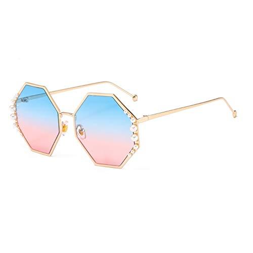 YWYU Große Namen Sonnenbrillen Metall Intarsien Perlen Achteckige Luxus Damen Sonnenbrille Brille (Farbe : F)