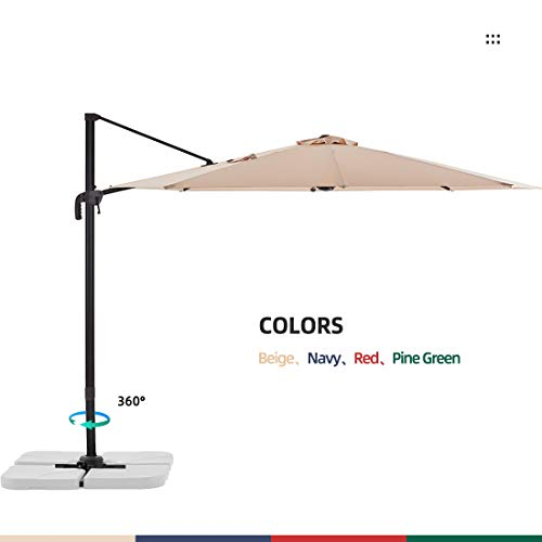 Le Conte 10ft Offset Cantilever Patio Umbrella Outdoor Hanging Umbrella - 360 Degree Rotation with...