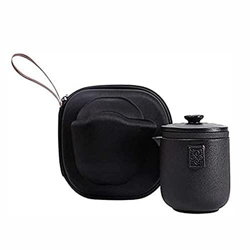 Hermoso juego de infusor de cerámica de viaje, hecho a mano, tetera de kungfu chino/japonesa con 4 tazas y bolsa portátil para picnic al aire libre camping