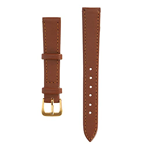 Jiawu Correa de Reloj con Hebilla de Pasador, cómoda y cómoda Correa de Reloj de Cuero PU para Reloj de Uso Profesional para reemplazo de Uso General(14mm Brown)