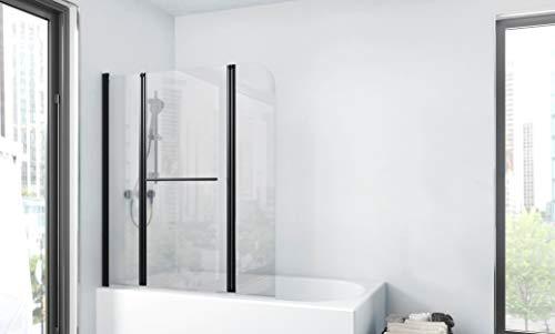 Duschwand CITY 125 x140 cm - 3-teilig faltbar - beidseitig montierbar - 4mm starkes Einscheibensicherheitsglas - matt schwarzes Design
