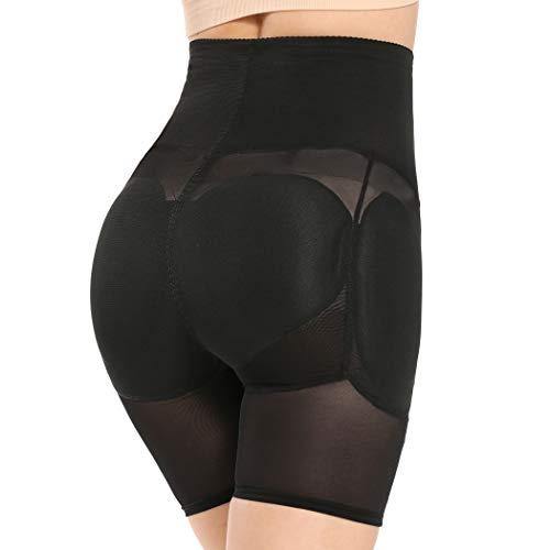 Joyshaper Hip Enhancer Tummy Control Panties for Women Paded Butt Lifter Shapewear High Waisted Thigh Slimmer (Black, L)