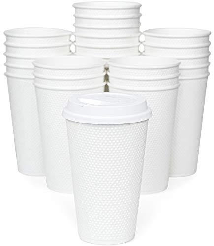 Glowcoast Disposable Coffee Cups With Lids - 16 oz To Go Coffee Cup With Lid (70 Set). Large Togo Travel Paper Hot Cups Insulated For Hot and Cold Beverage Drinks, No Sleeves Needed (White)