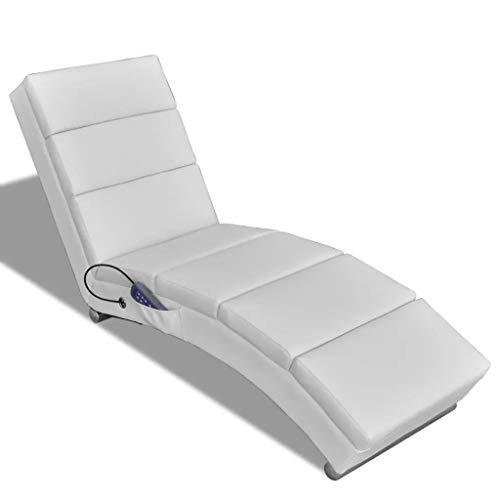 GOTOTOP - Sillón de masaje de piel sintética blanca, reclinable, 5 modos de masaje, 51 x 155 x 73 cm