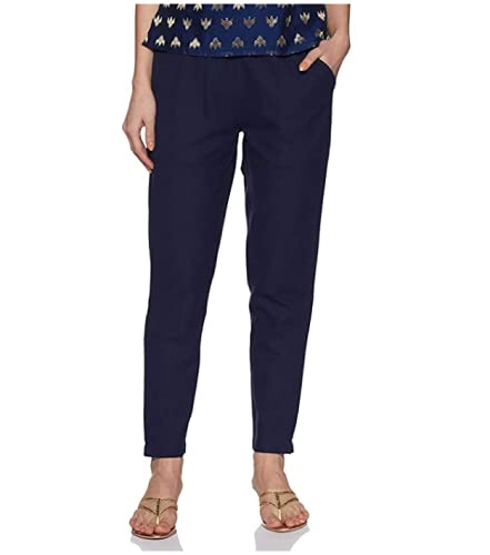 Cheer Pat Cotton Flex Non-Stretchable Slim Fit Navy Blue Straight Casual Cigarette Pants Trouser for Girls/Ladies/Women (Navy Blue)