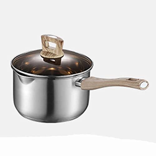 ZLJ Pentola per brodo pentola per zuppa addensata in Acciaio Inossidabile 304 pentola con Manico Singolo pentola per Latte Piccola (16 18 cm) pentola per fornello a induzione (Dimensioni: