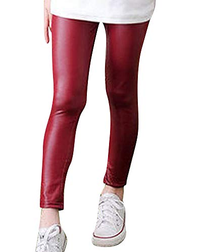 ZhuiKunA Niñas Leggins PU Cuero Leggings Cintura Elástica Pantalones De Lápiz Jeggings Burdeos 100(Altura Recomendada 90-95CM)