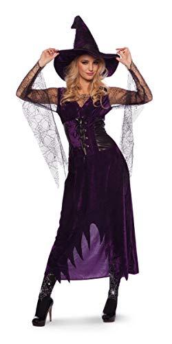 Vestito da strega viola con cappuccio - donna L-XL
