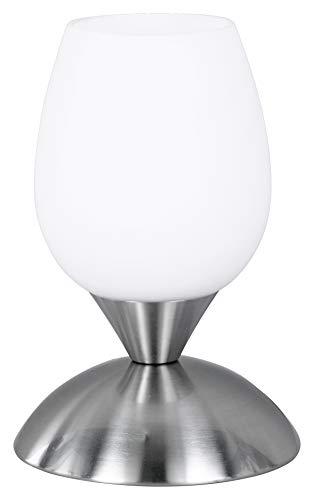 Reality R59431007 Cup - Sobremesa, bombilla excluida, E14, 40 W, 230 V, A++, E, IP20, alto 18 cm, diámetro 12 cm, metal, níquel mate y blanco