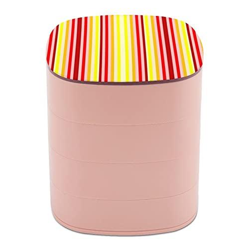 Rotar la caja de joyería, caja de almacenamiento de joyas de 4 capas, rotación de 360 grados, caja creativa para anillos, pendientes, collar, broche, baratijas, rojo amarillo y vertical rayado acento