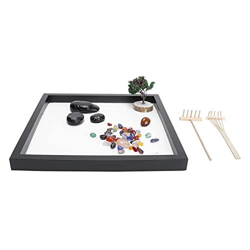 Hapivida Mini Sable Table Ornement Japonais Salon de Thé Zen Jardin Kit DIY Imitation Bac à Sable Plateau Artisanat Décoration Décompression Jouets Ensemble