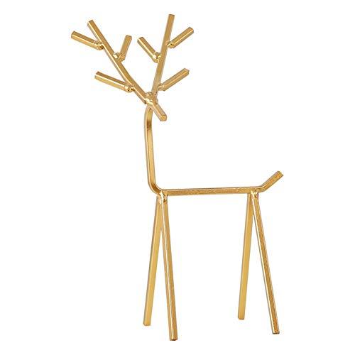 Kalaokei Cómoda de escritorio con forma de ciervo, de hierro forjado, para colgar en el dormitorio, dorado
