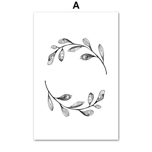 UIOLK Lienzo artístico Hoja de Pluma de Diente de león Póster nórdico Arte de la Pared Pintura en Lienzo Carteles e Impresiones nórdicos Entrada de la Sala de Estar Decoración del hogar