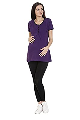 Goldstroms women's Round Neck Maternity/Feeding/Nursing Tshirt/Top/Tee/Tunic