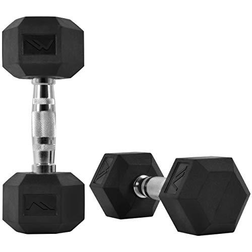 MSPORTS Hexagon-Hanteln Premium (Paar) | 5-30 kg | rutschsicher ummantelt | ergonomische verchromte Griffe | Kurzhantel-Set | Dumbbell-Set (22,5 kg - Paar (2 Stück))