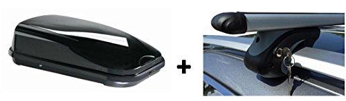 Dachbox JUFL320 Relingträger Alu 320 Liter kompatibel mit VW Tiguan 2007-2016 abschließbar