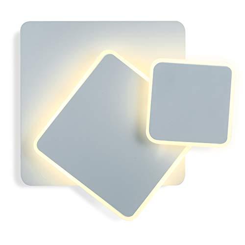 Asvert Apliques Pared Interior Ángulo ajustable Lámpara de pared 15W Moderna Blanco Cálido Perfecto para Salon Dormitorio Sala Pasillo Escalera (Blanco, Cuadrado)
