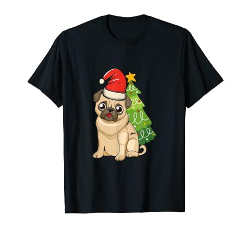 Carlino Albero di Natale Luci di Natale Cane Carino Babbo Na Maglietta