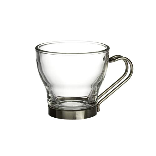 Bormioli Rocco Oslo Espresso Glass Cups 4 Set 11 Oz | Tempered Glass, Ergonomic Stainless Steel Handles, Dishwasher Safe | For Coffee Drinks, Beverages, Latte, Macchiato, Espresso, Mocha & More