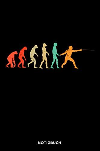 Fechten Evolution: Notizbuch für Fechter | liniert | 120 Seiten | ca. A5 Format (15.24cm x 22.86 cm)