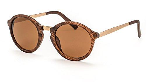 Filtral Runde Sonnenbrille/Trendige Retro-Sonnenbrille mit goldenen Bügeln und Schlüssellochsteg F3001119