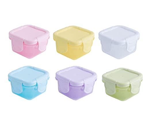Mini Contenitori per Alimenti per Bambini,6 PCS Plastica Contenitori per Freezer con Coperchi Contenitori per Alimenti per Bambini per Bambini Alimenti Microonde 60ML