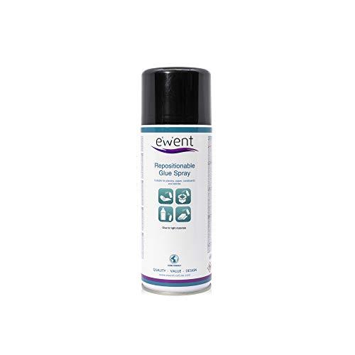 Ewent EW5625 - Spray de pegamento reposicionable 400ml - Pegamento para materiales ligeros (plásticos, papel, corchos, cartón, poliestireno expandido, textiles, espumas).