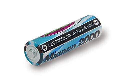 Jamara 141018 - Batería 1,2V 2000mAh NiMh Mignon AA HR6 – Batería Recargable de Alto Rendimiento, Ideal para Dispositivos de Flash, Cámaras, Mandos a Distancia, Juguetes