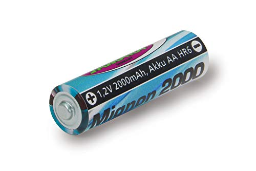 Jamara 141018 - Batteria 1,2V 2000mAh NiMh Mignon AA HR6 - Batteria ricaricabile ad alte prestazioni, Ideale per dispositivi Flash, Fotocamere, Teleco