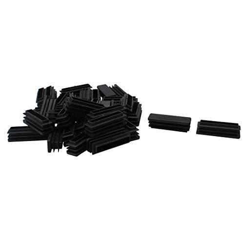 DealMux 35 Uds 15x50mm plástico rectángulo acanalado insertos de tubo tapa de extremo muebles silla mesa pies Protector de suelo