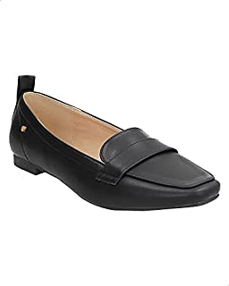 Dejavu Faux-Leather Front Strap Square Toe Loafers with Pull-Tab for Women