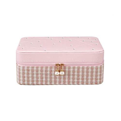 AJH Meerlagige juwelendoos met diamanten Pure Makeup Dressing Box, dubbellaagse draagbare juwelendoos