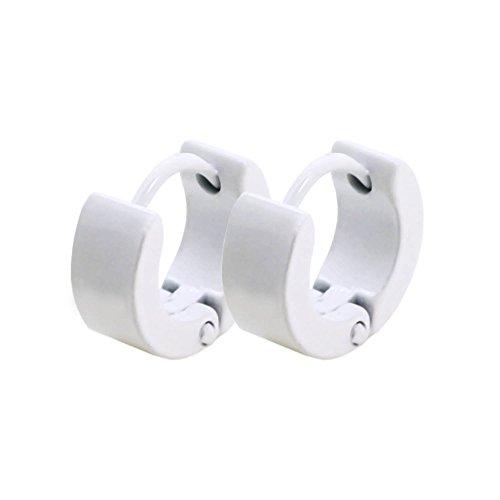 2x Creolen Creole Edelstahl Klappcreolen Ohrstecker Ohrringe Huggie Damen Herren Weiß Unisex Ohrschmuck, Farbe:weiß - klein