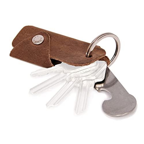DONBOLSO® Colt I Schlüsseletui mit Einkaufswagenlöser I Leder Etui für 1-6 Schlüssel Schlüsselring I Braun