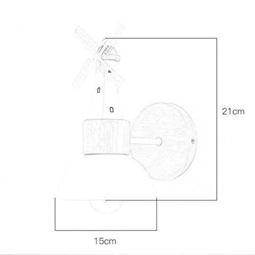 LZY Lampe murale- Applique murale Design minimaliste en bois, abat-jour en fer forgé, lampe de mur en forme de moulin à vent en forme d'escalier (Couleur : Blanc-15x21cm)