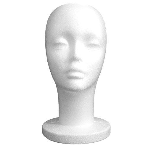 Vococal® Mousse de Styrol Femelle Modèle Perruque Chapeaux Casquettes Lunettes Affichage Tête De Mannequin