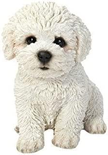 Bichon Frise Puppy Statue | Animal Statue for Home Decor, Garden Decor, Outdoor Decoration | White - 6'' H x 4'' W x 6'' D