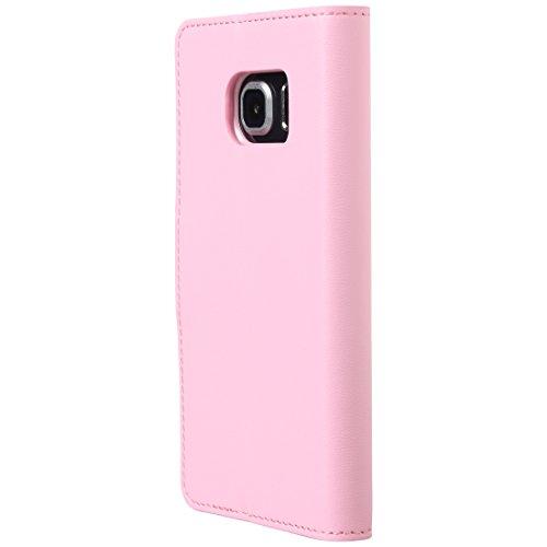 Ultratec Funda protectora de cuero sintético para Samsung S6 edge, con función de soporte y compartimentos interiores, fucsia