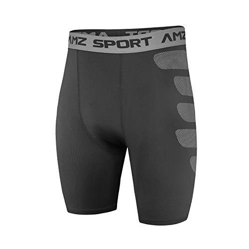 AMZSPORT Pantaloncini da Compressione per Uomo Pantaloni da Allenamento per Allenamento Sportivi Raffreddare a Secco, Nero M