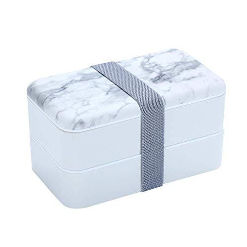 Boîte à lunch Déjeuner des contenants étanches Déjeuner écologique Boîte avec Chopstick et cuillère au lave-vaisselle préparation des repas Conteneurs for adultes et enfants (Color : White)