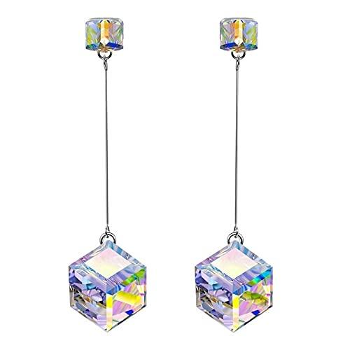 Pendientes colgantes cuadrados de gota Pendiente de cristal Mujer Moda Encanto Joyería de boda Regalo