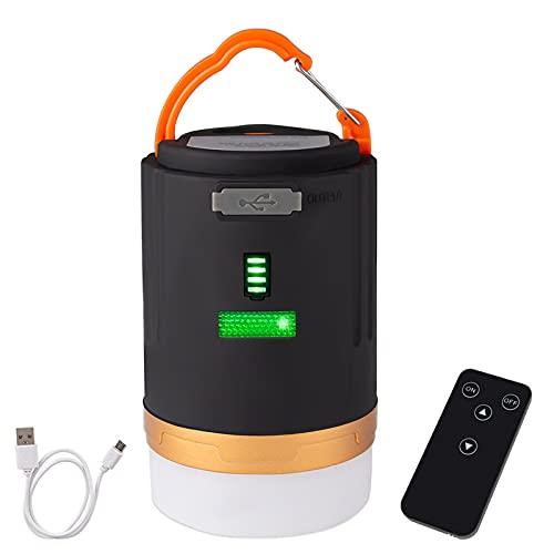 GYAM Linterna Luz Camping, Luz Tienda LED Recargable por USB/Cargador Banco Energía con Control Remoto, Linterna Camping Al Aire Libre 3 Modos para Senderismo, Camping, Emergencias
