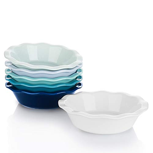 Sweese 521.003 Porcelain, Mini Pie Pan Set, 6.5 Inch - 12 oz Individual Pie Plate, Non-Stick Pie Dish, Round Pie Tins with Ruffled Edge, set of 6, Multicolor, Cool Assorted Color