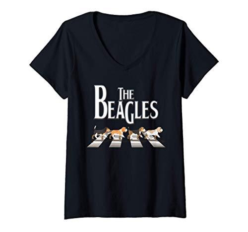 Damen The Beagles, Beagle Lustiger Hund für Beagle-Liebhaber T-Shirt mit V-Ausschnitt