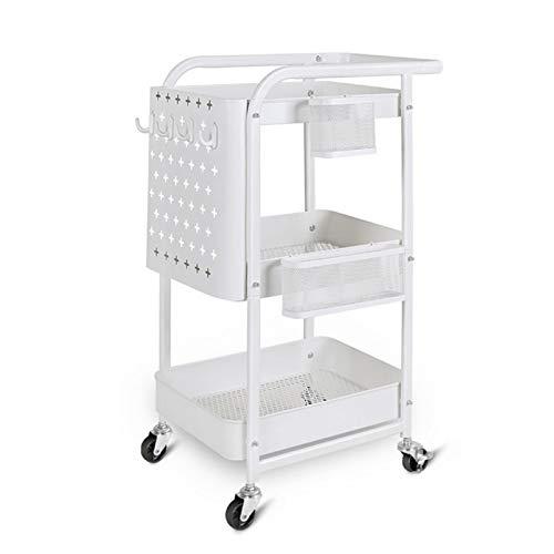 YuanSu Hanging Basket Mobile Storage Lagerwagen Rollwagen Geeignet for Küche Wohnzimmer und Badezimmer Badrollwagen (Color : 3 Layers of White)