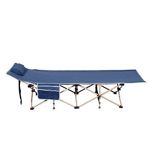soges Campingbett Feldbett Tragbares Faltbares Bett Sonnenliege im Freien mit gepolstertem Kissen und Seitentasche,leichtes Schlafsofa,190CM*67CM*34CM,Marineblau