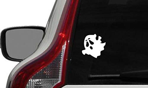 Cute Spooky Ghost Version 1 Car Vinyl Sticker Decal Bumper Sticker for Auto Cars Trucks Windshield Custom Walls Windows Ipad MacBook Laptop and More (White)
