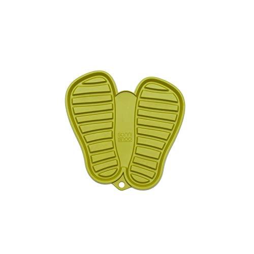 Sanni Shoo, Shoo.pad, Flexible, waschmaschinen-Feste Schuh-Abtropf-Matte, Schuhablage, Schuhabtropfschale, Abtropf- und Schmutzfang-Matte für Kinderschuhe S (bis Schuhgrösse 31), grün